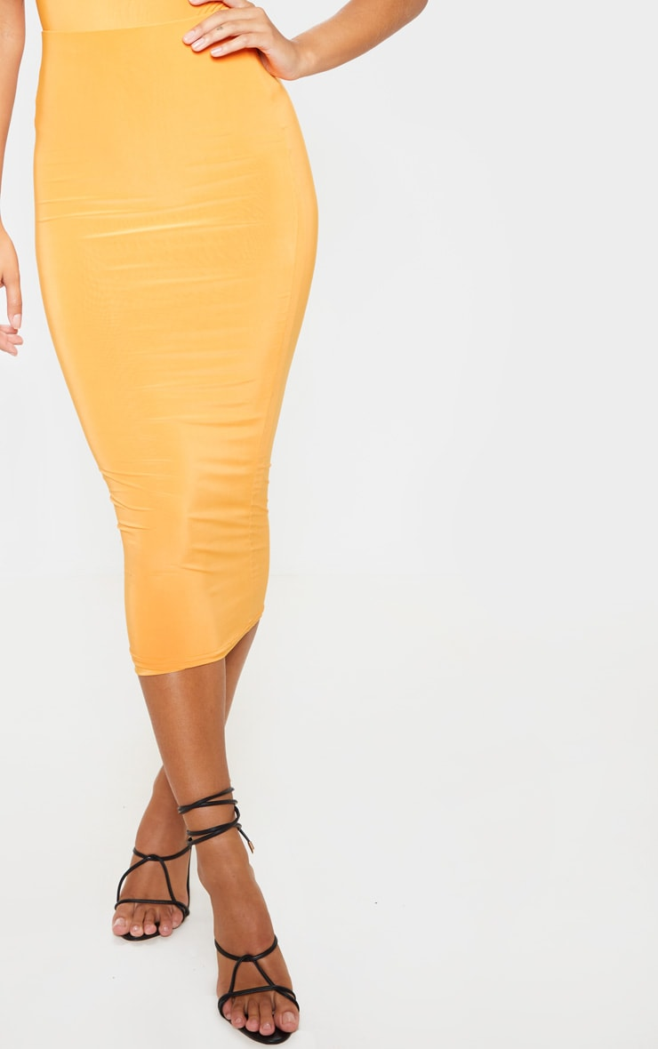 Bright Orange Mix & Match Second Skin Slinky Midaxi Skirt 5