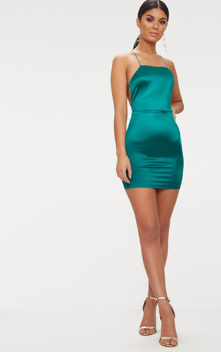 Emerald green High Neck Strappy Back Bodycon Dress  4