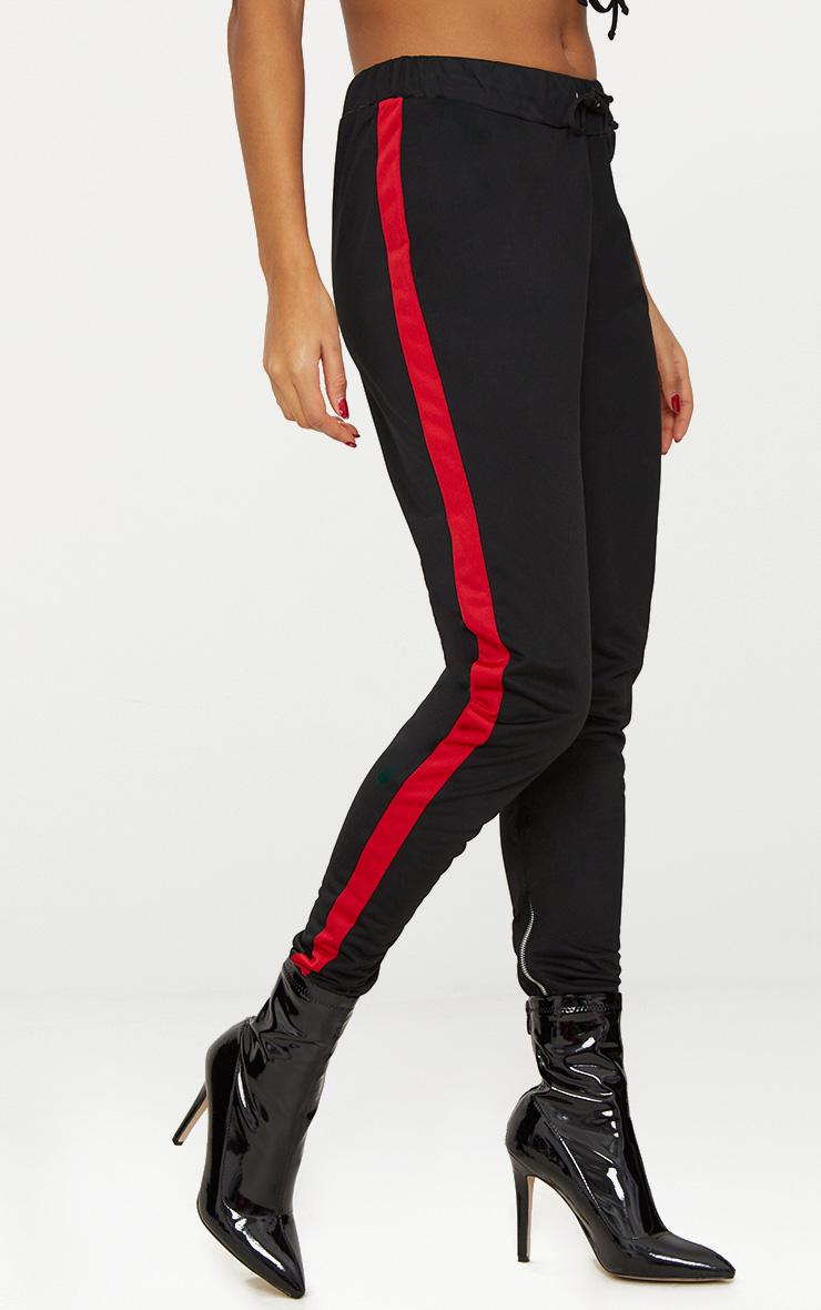 Black Scuba Contrast Stripe Joggers  2