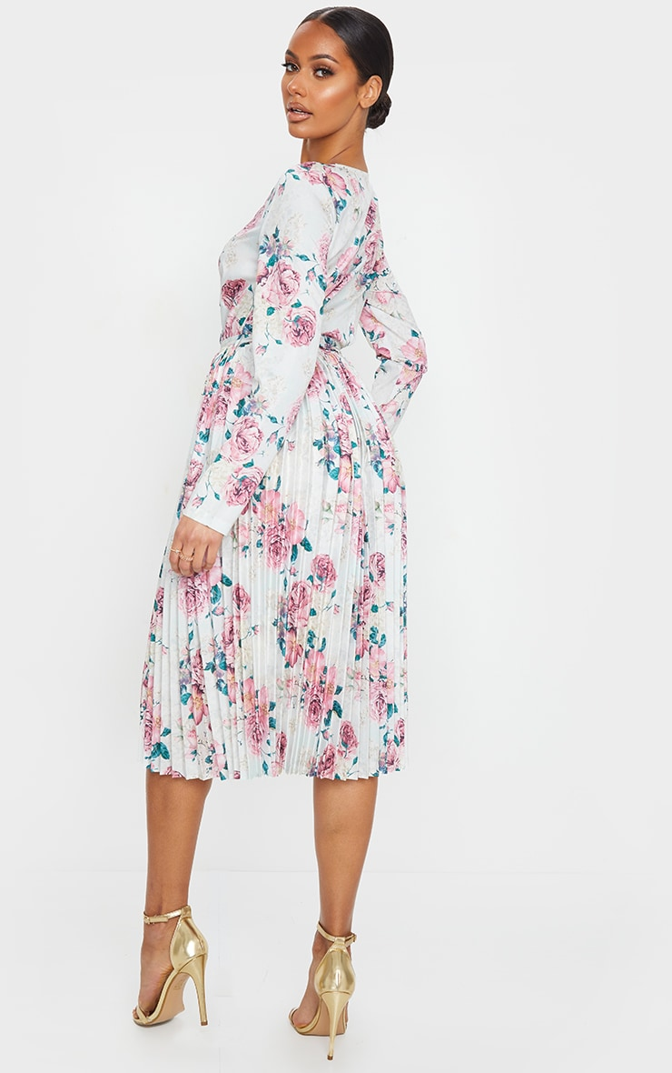 White Floral Print Long Sleeve Pleated Midi Dress 2