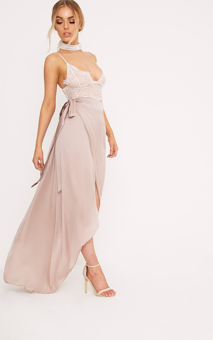 Sorella Mink Satin Wrap Maxi Skirt 1
