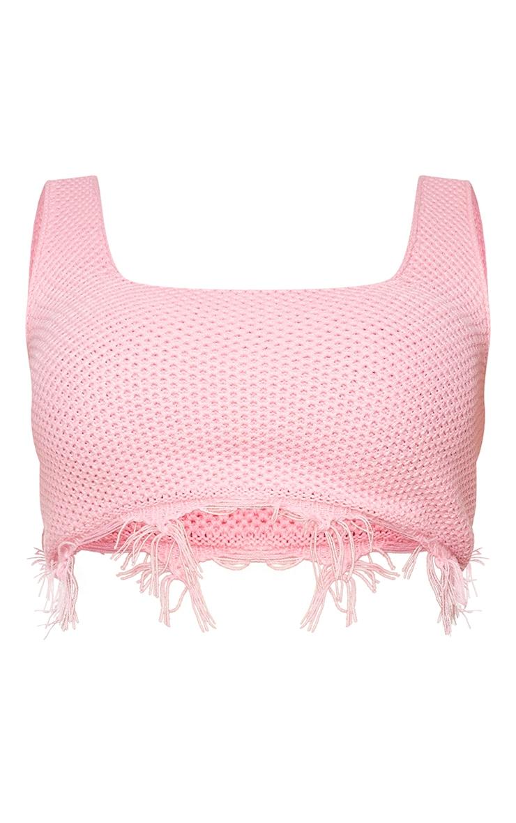 Plus Pink Raw Hem Knit Crop Top 5