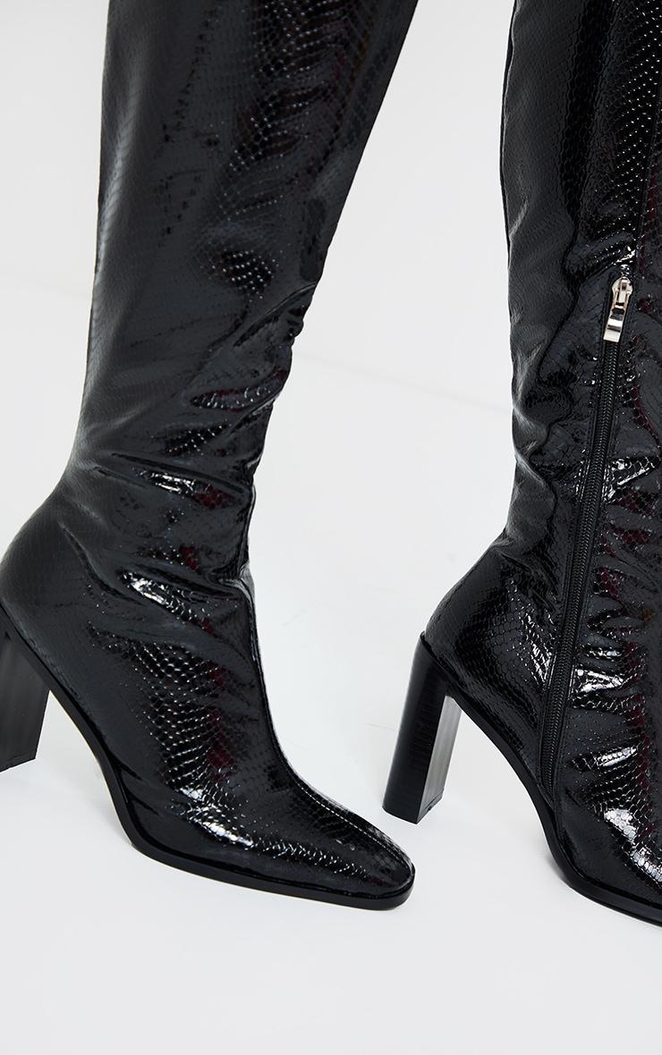 Black Pu Snake High Flat Block Heel Knee Boots 2