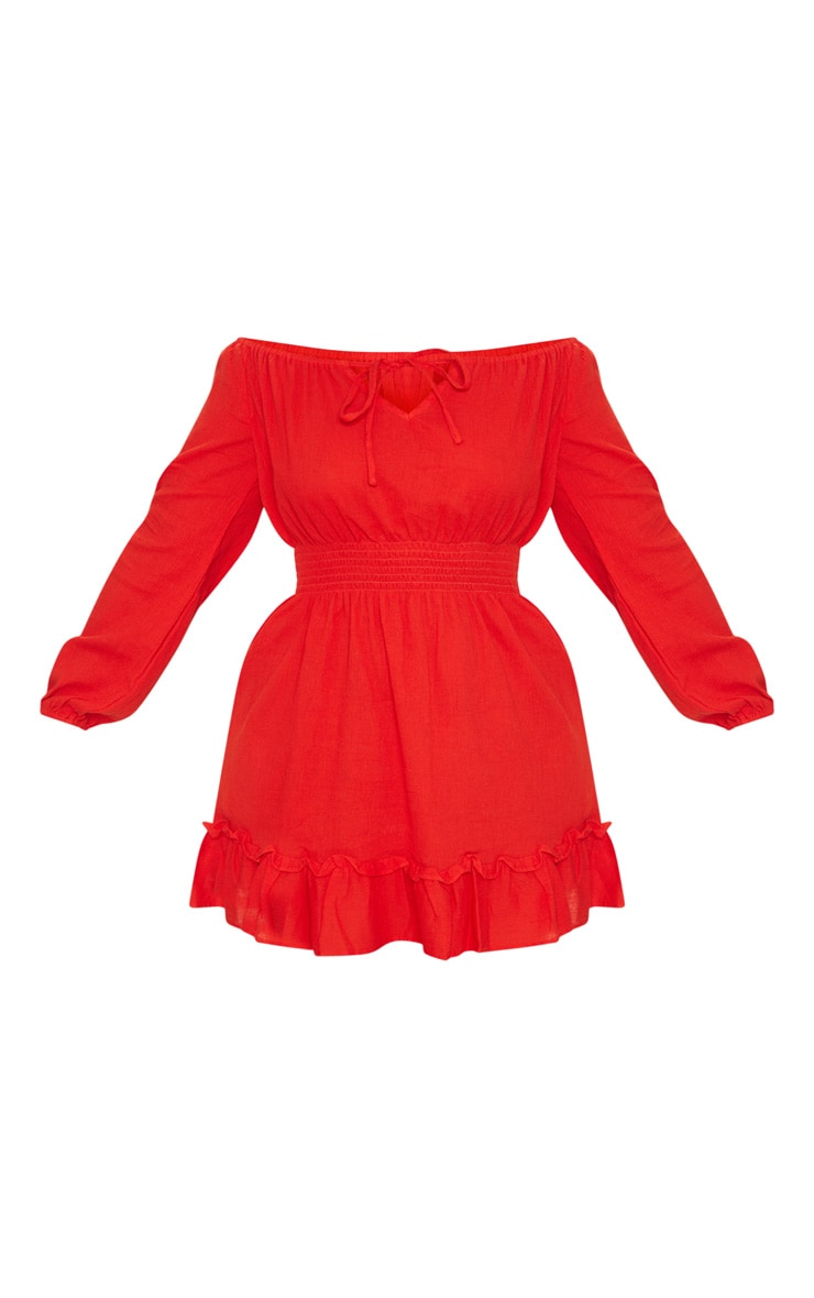 Plus Red Cheesecloth Bardot Swing Dress 3
