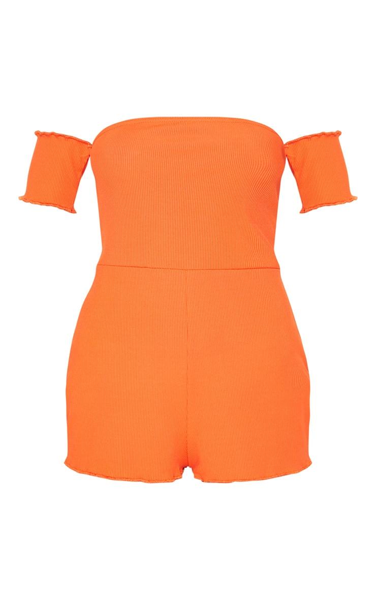 Pyjashort Bardot corail côtelé 3