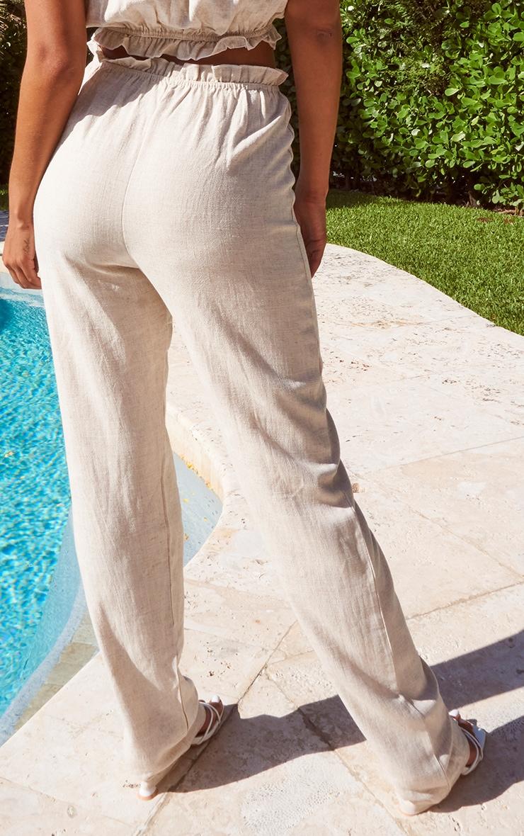 Stone Linen Feel Paperbag Waist Straight Leg Pants 3