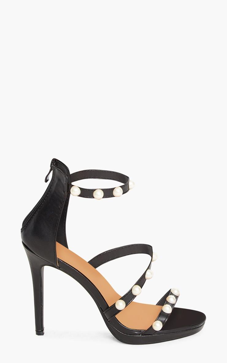 Black Pearl Strap Heels 3