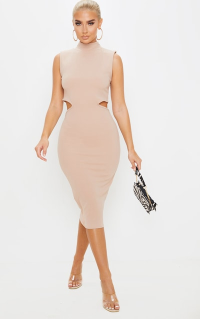 Stone High Neck Waist Cut Out Sleeveless Midi Dress