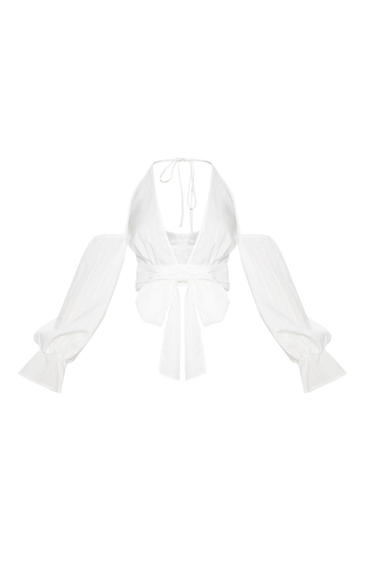 White Halterneck Puff Sleeve Shirt 3