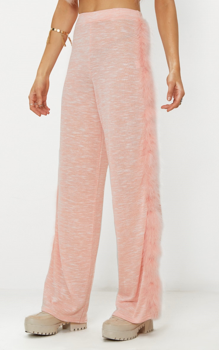 Pink Feather Trim Wide Leg Knitted Trousers 2