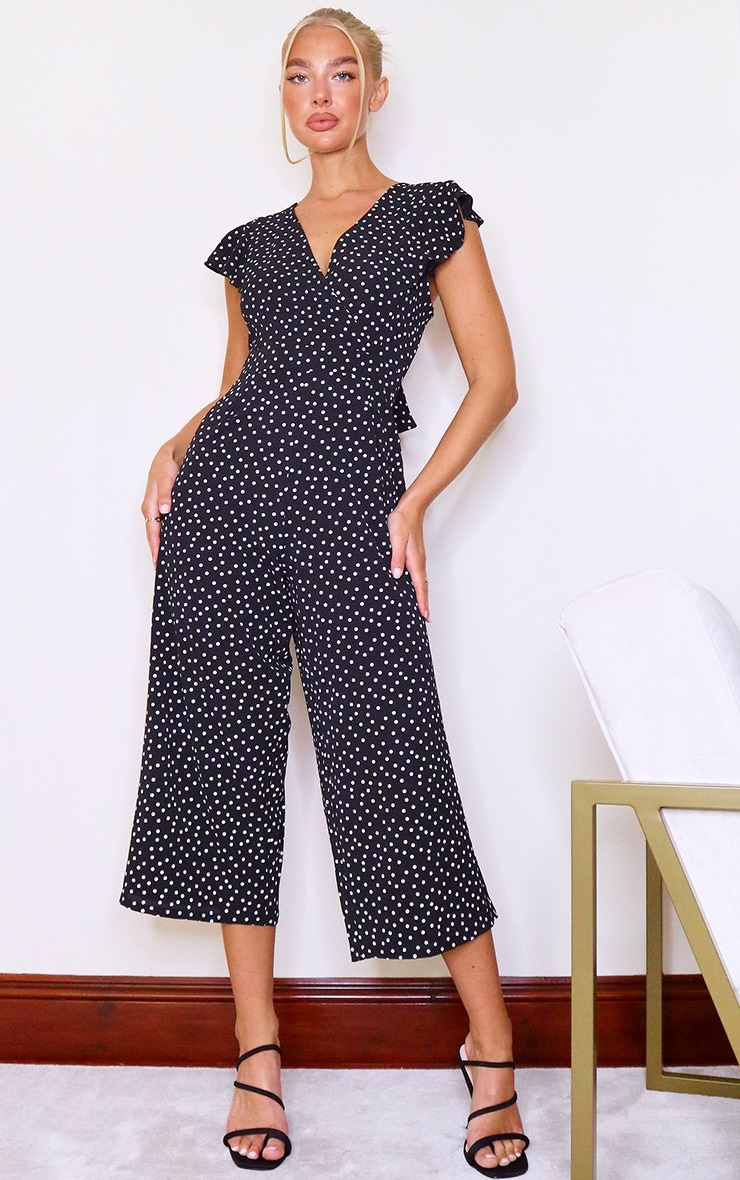 Black Polka Dot Wrap Tie Back Jumpsuit 2