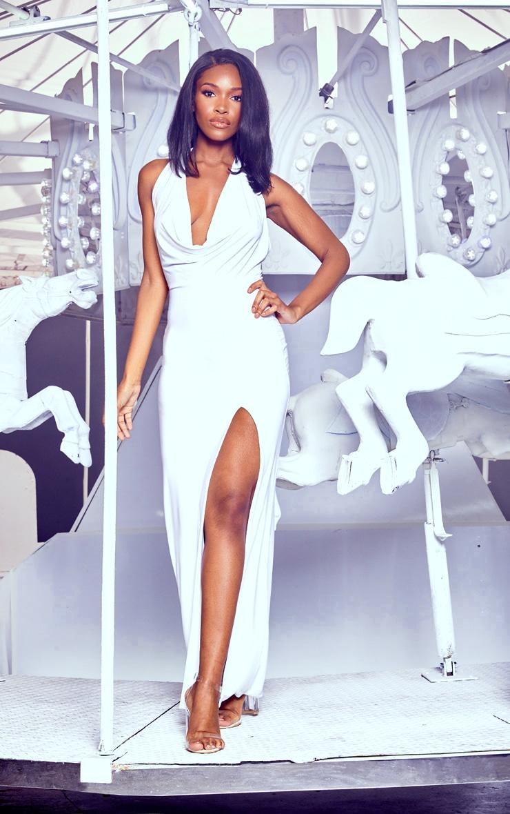 White Extreme Cowl Maxi Dress 1