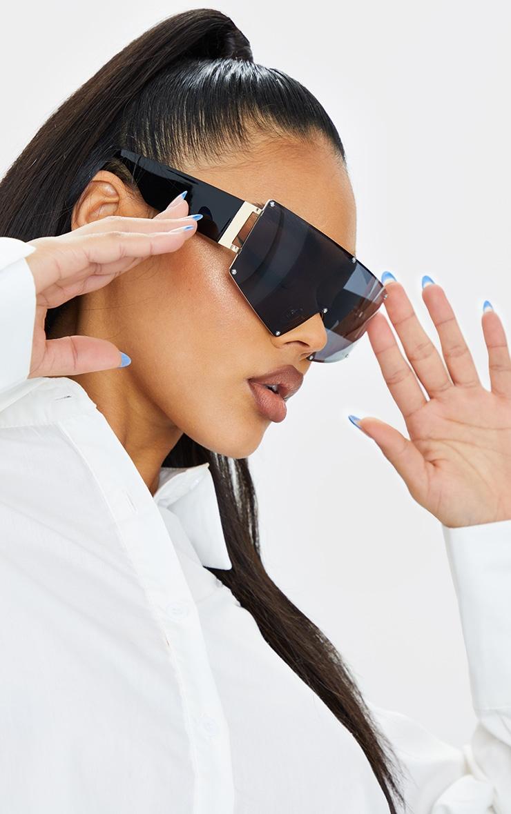 Black Oversized Square Frameless Sunglasses 1