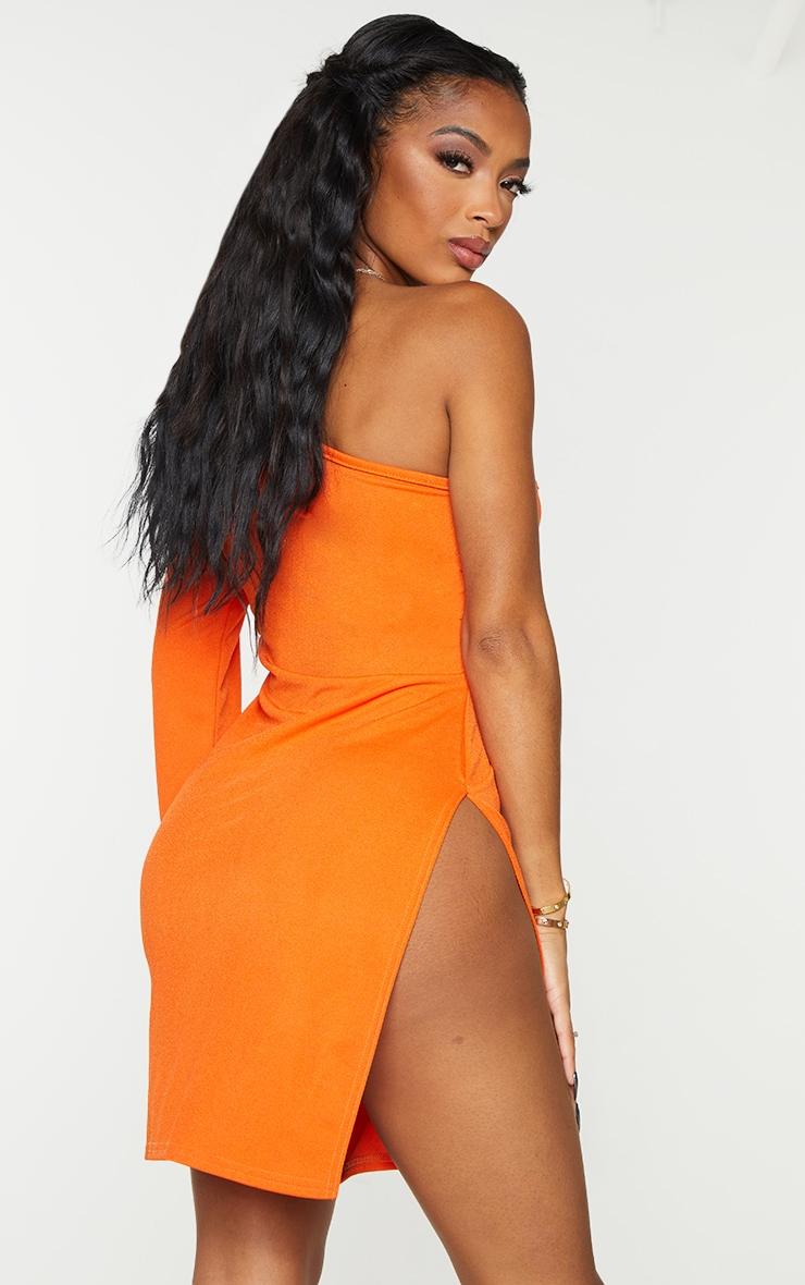 Shape Orange One Shoulder Split Bodycon Dress 2
