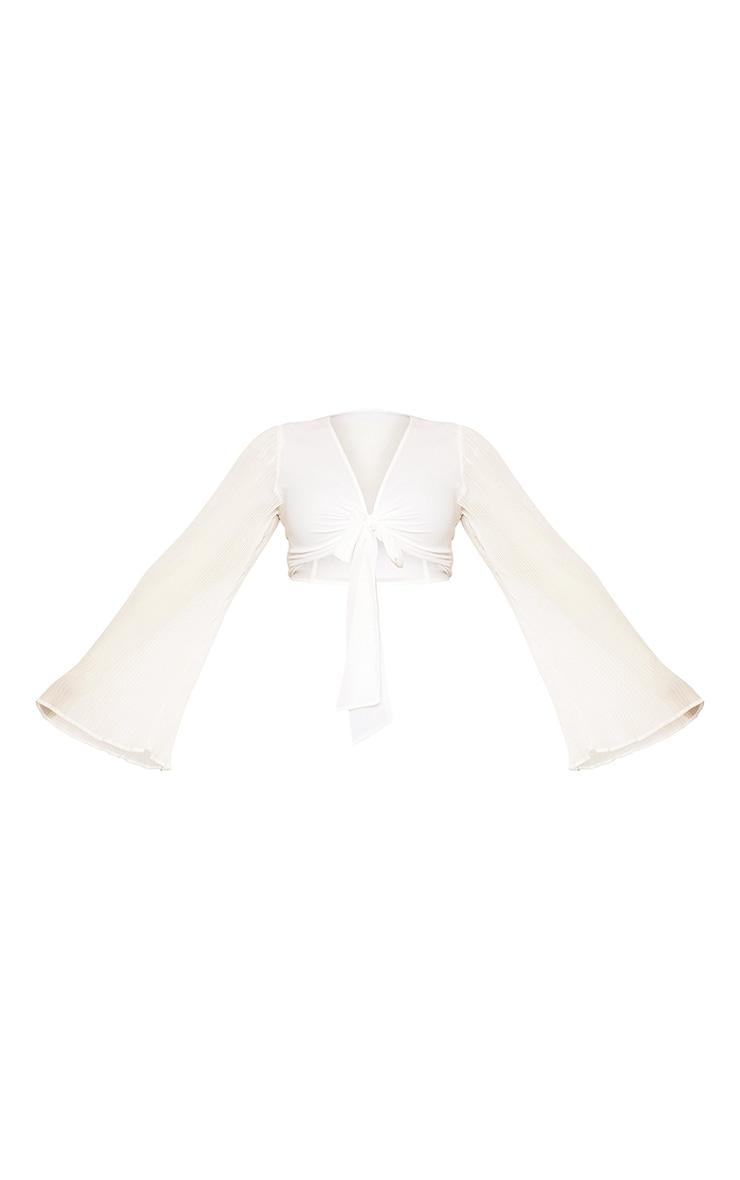 Plus Cream Plisse Sleeve Tie Front Blouse 5