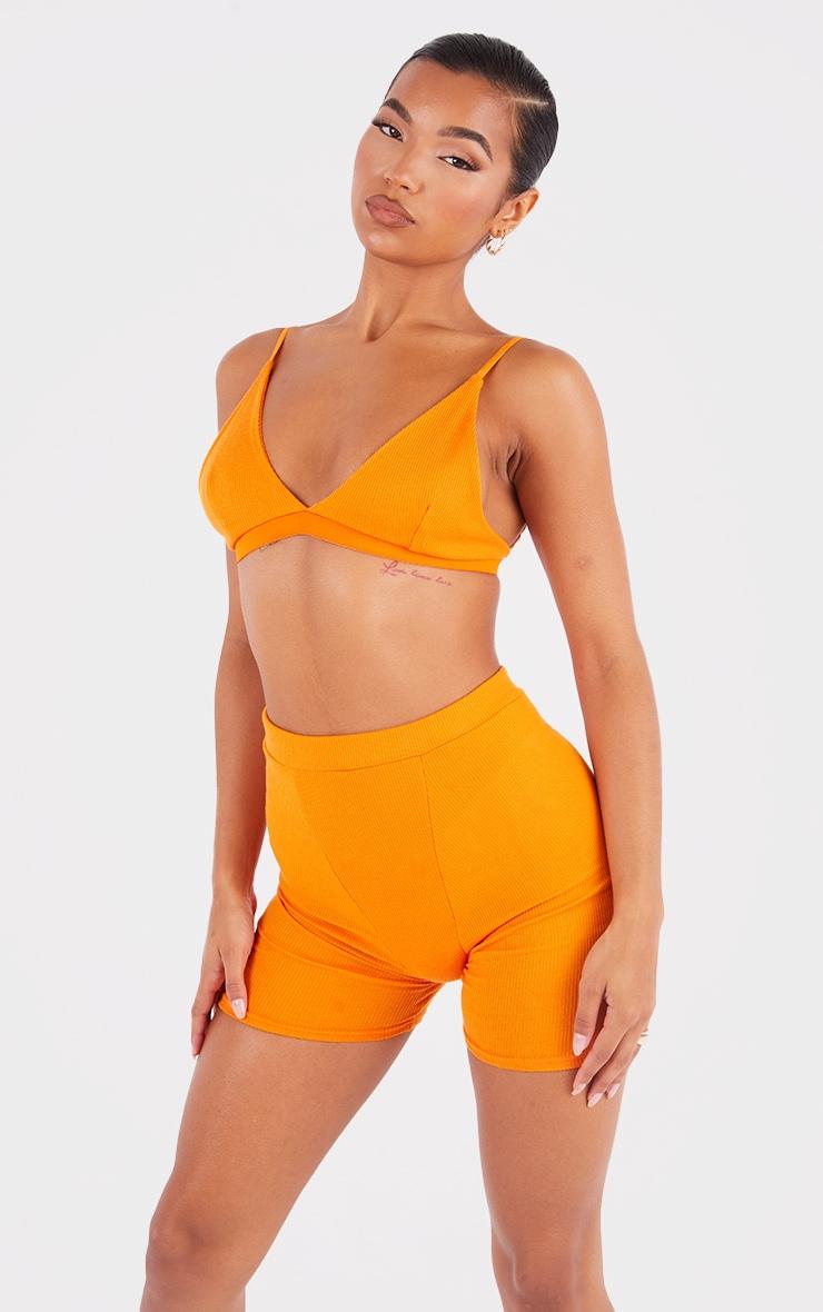 Bright Orange Ribbed Bike Shorts 4