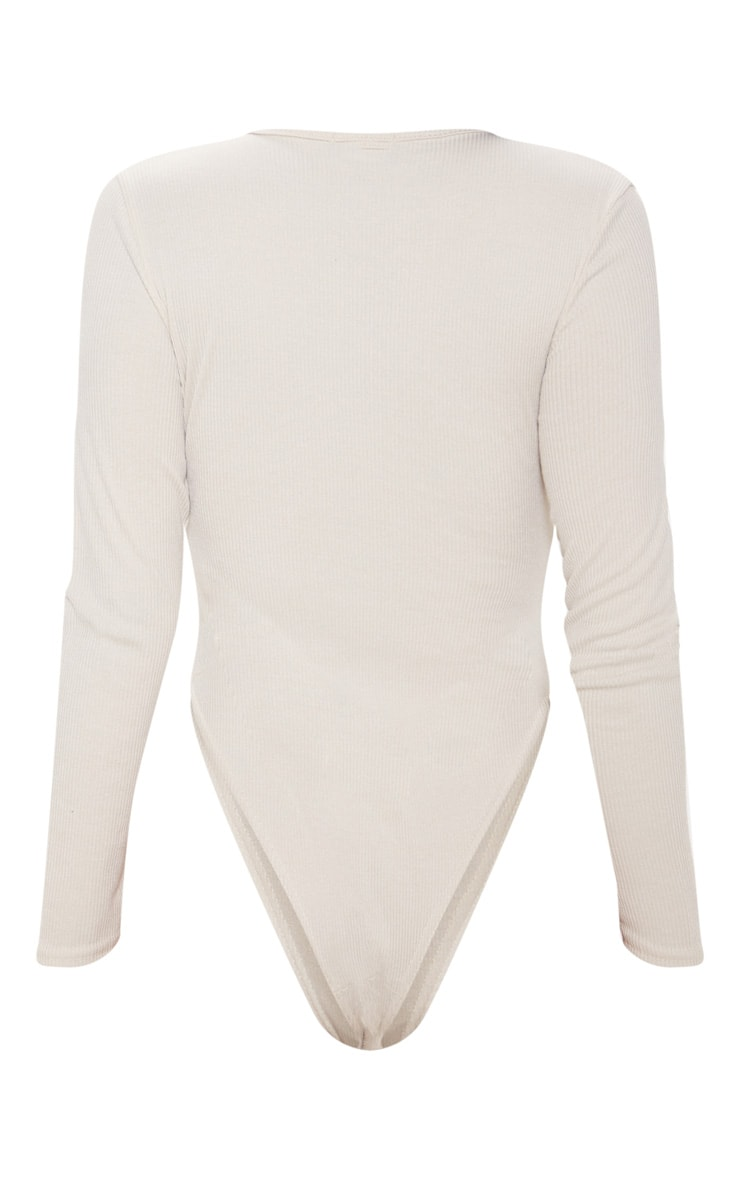 Sand Get Naked Embroidered Rib Crew Neck Long Sleeve Bodysuit 4