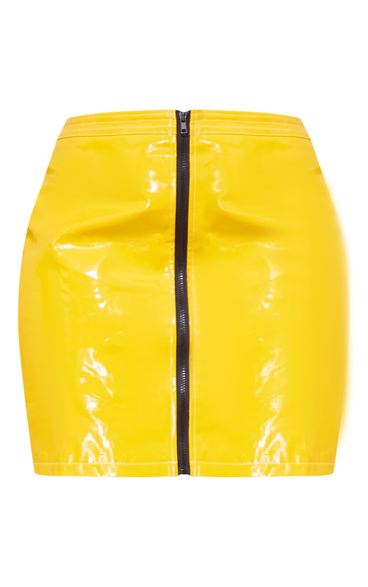 Plus Yellow Vinyl Zip Detail Mini Skirt 3