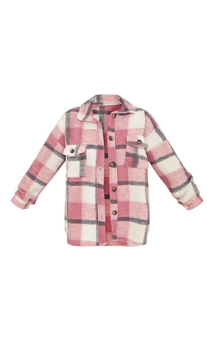 Petite Pink Brushed Check Oversized Shacket 5