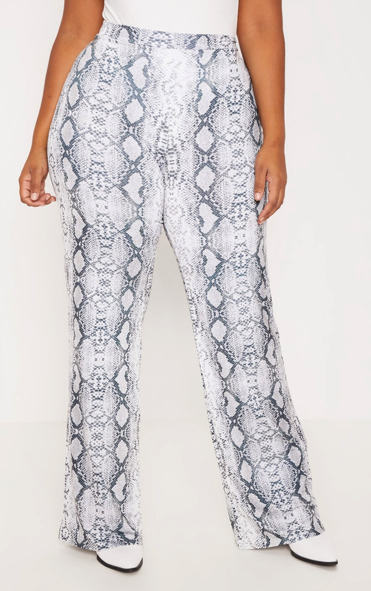 Plus Grey Snake Print Wide Leg Trousers 2
