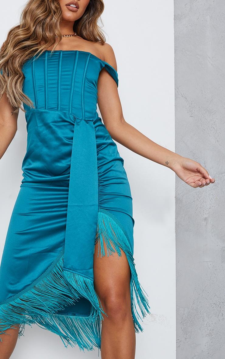 Emerald Green Satin Bardot Tassel Hem Draped Midi Dress 4