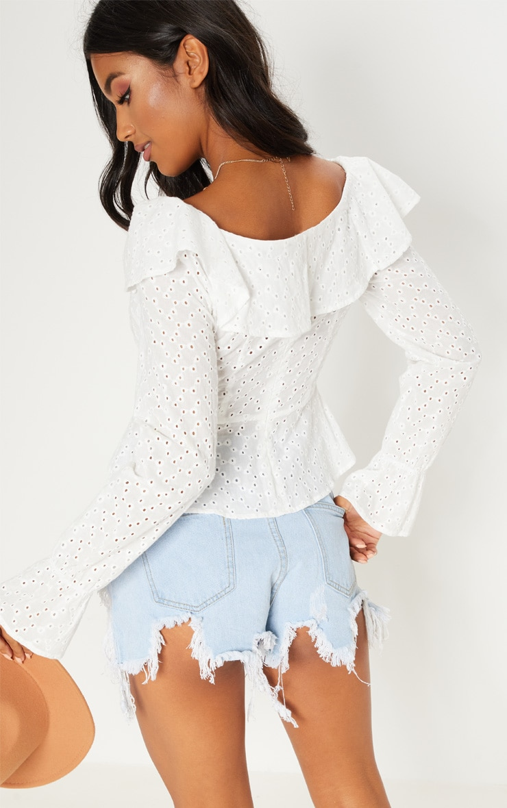White Broderie Anglaise Frill Detail Blouse 2