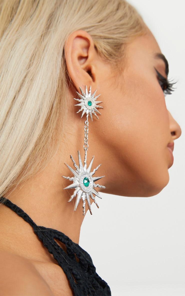 Silver Sundial Drop Earrings 1