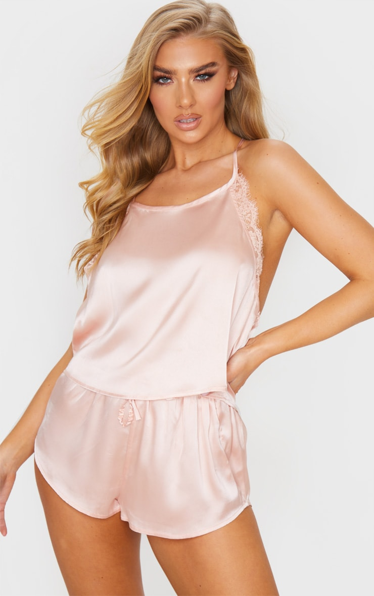 Pink Lace Back Cami Satin Pj Set 2