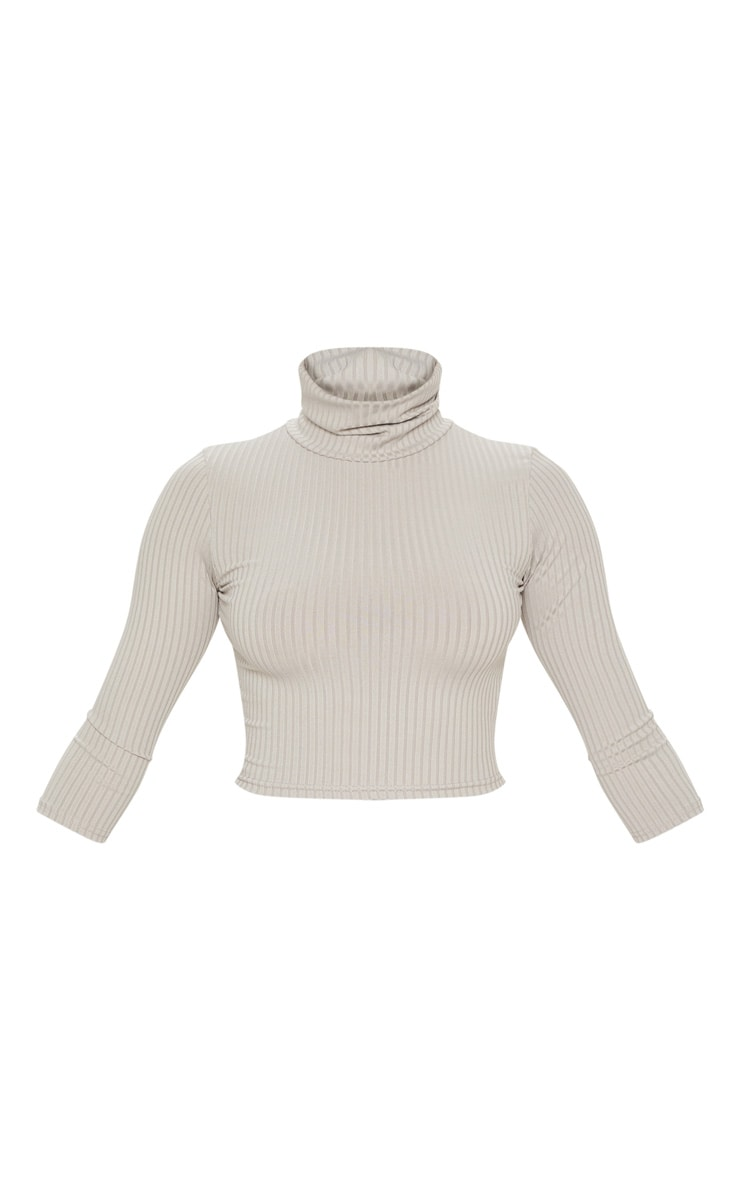 Grey Marl Long Sleeve Rib Roll Neck Crop Top 3