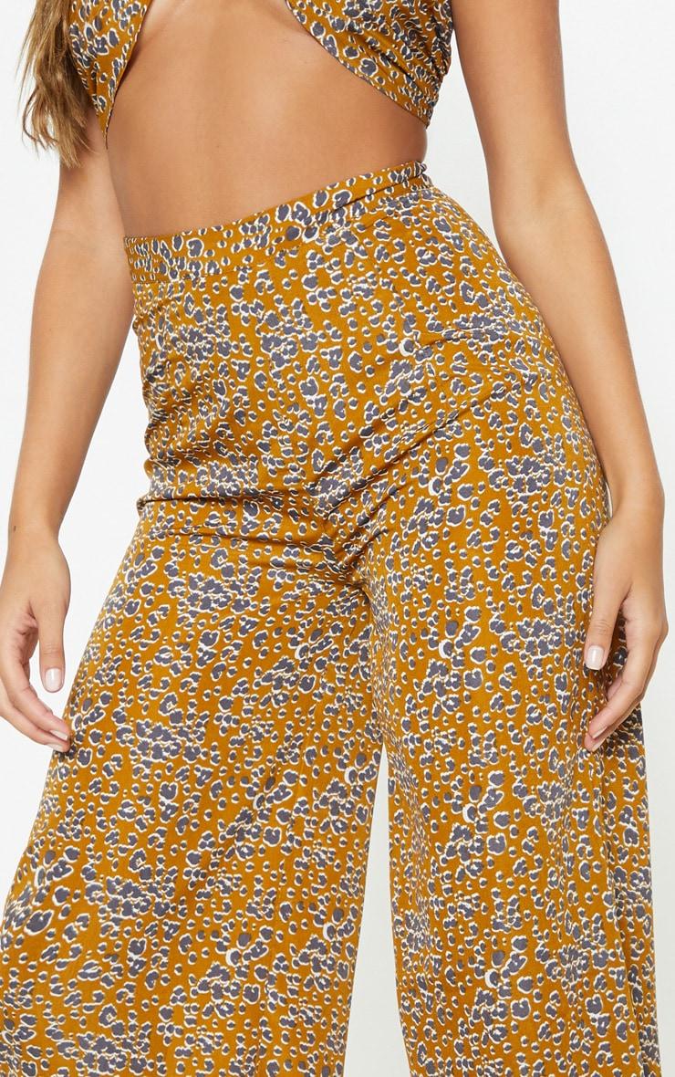 Mustard Leopard Print Wide Leg Pants 5