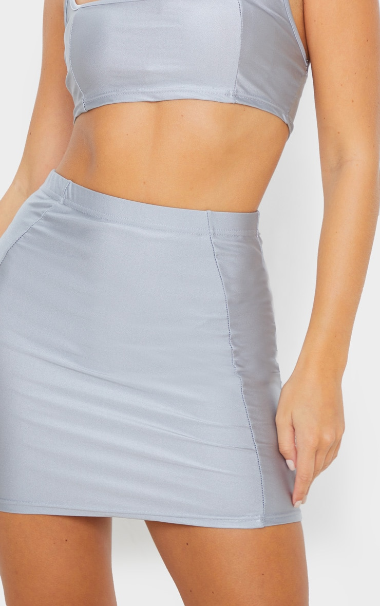 Silver Disco Seam Front Mini Skirt 6