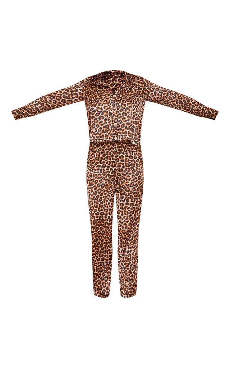 Tall Leopard Print Long Sleeve Satin PJ Set 5