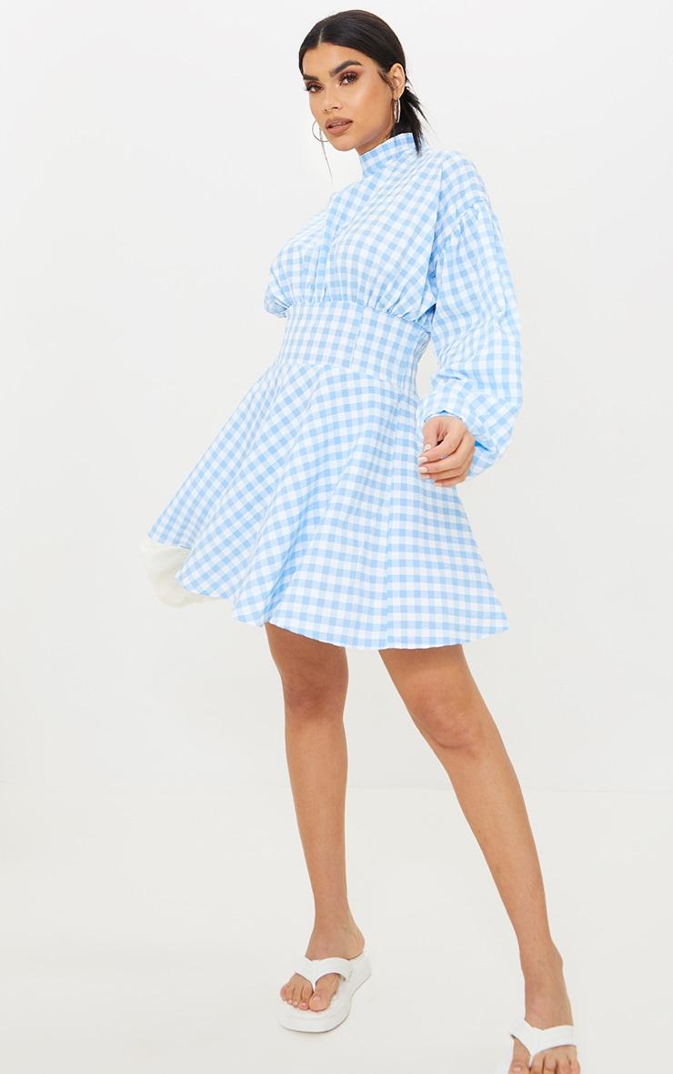 Blue Gingham High Neck Ruched Detail Shift Dress 3