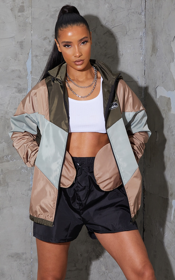 PRETTYLITTLETHING Khaki Shell Colour Block Oversized Tracksuit Jacket 3
