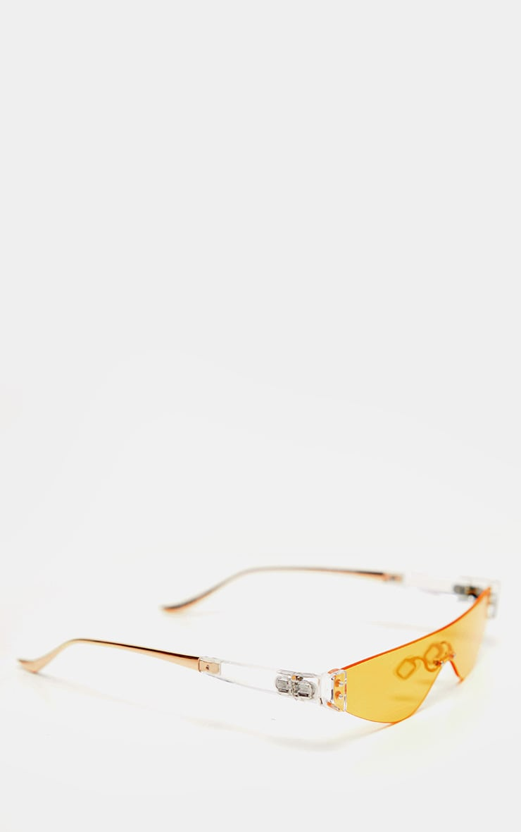 Yellow Tinted Frameless Slimline Sunglasses 4