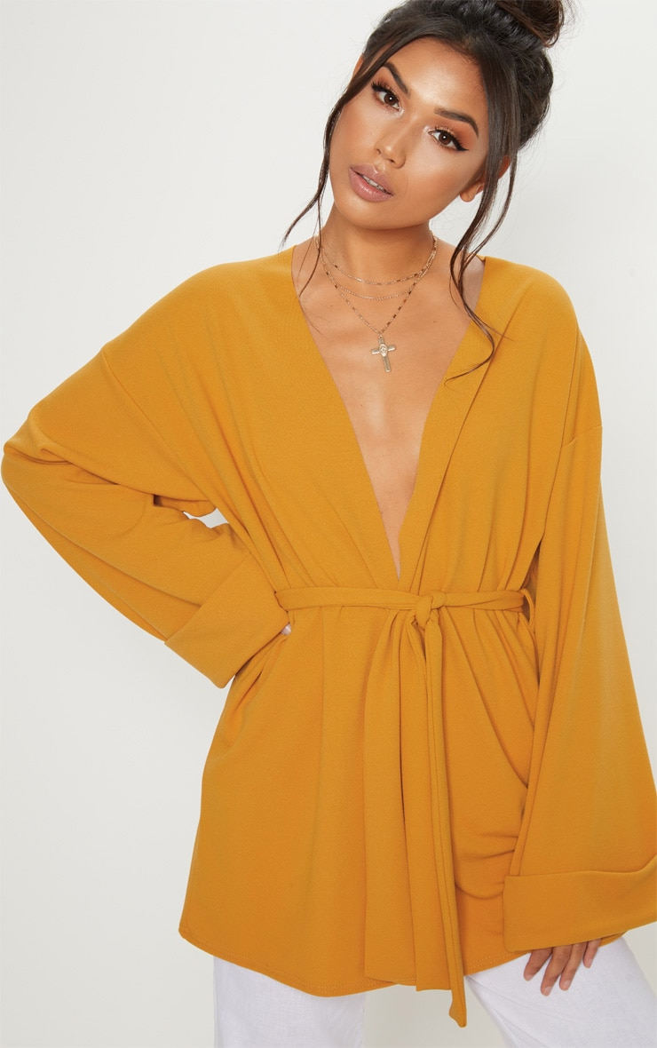 Factory Sale PRETTYLITTLETHING Mustard Belted Oversized Sleeve Blazer Discount Pay With Visa Discount Collections 2018 Newest Sale Online 1IYO3