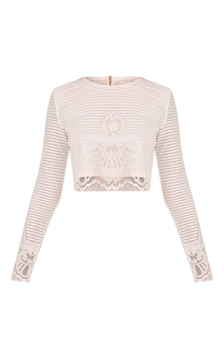 Robin White Striped Lace Crop Top 3