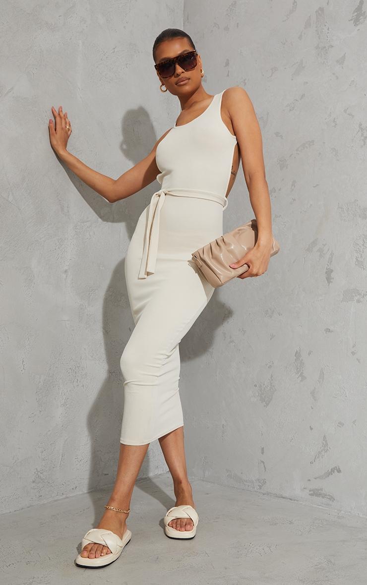 White Rib Cut Out Back Detail Tie Waist Midaxi Dress 2