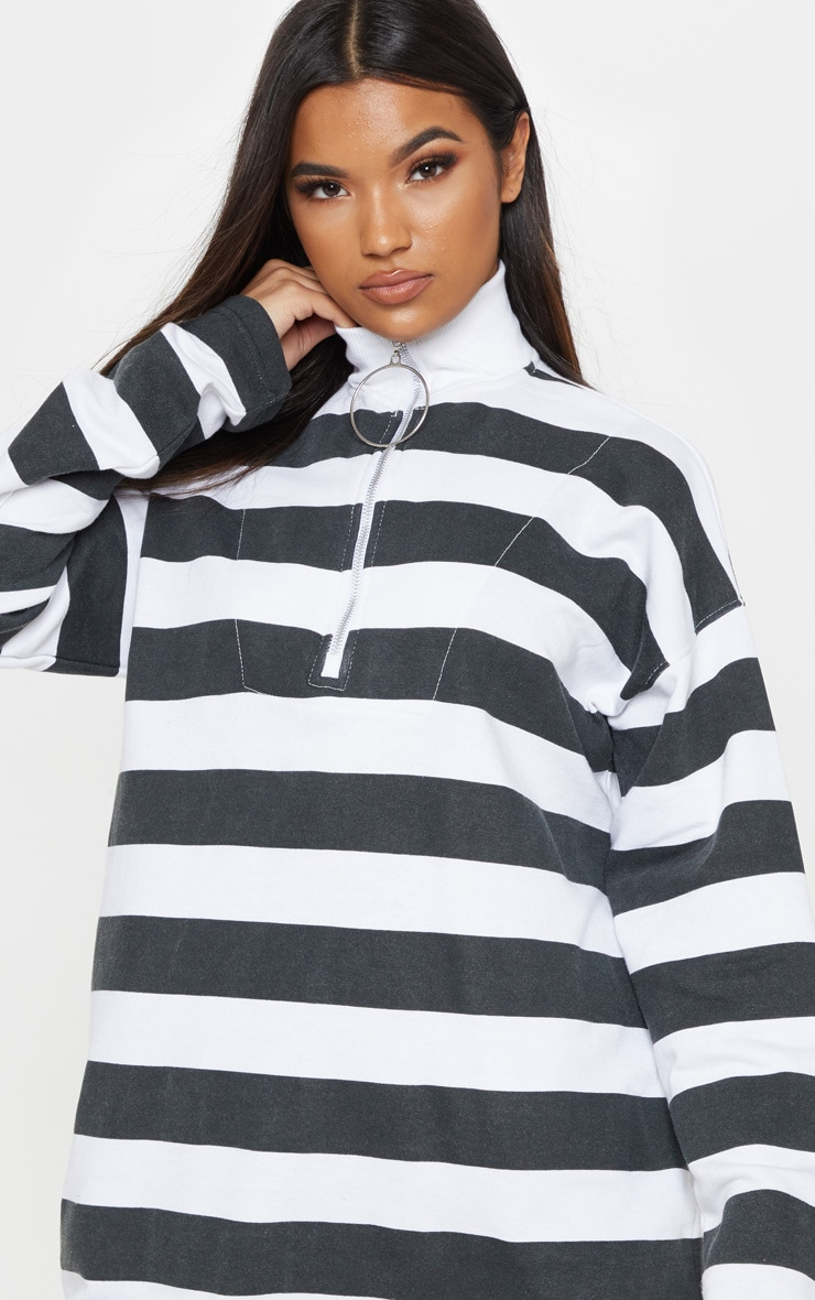 Monochrome Ring Zip Front Stripe Jumper Dress 5
