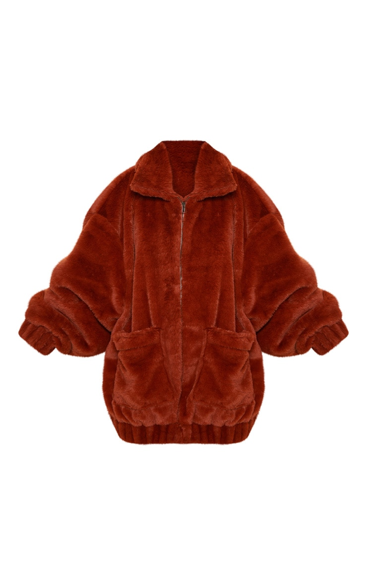 Brown Faux Fur Pocket Front Coat 3