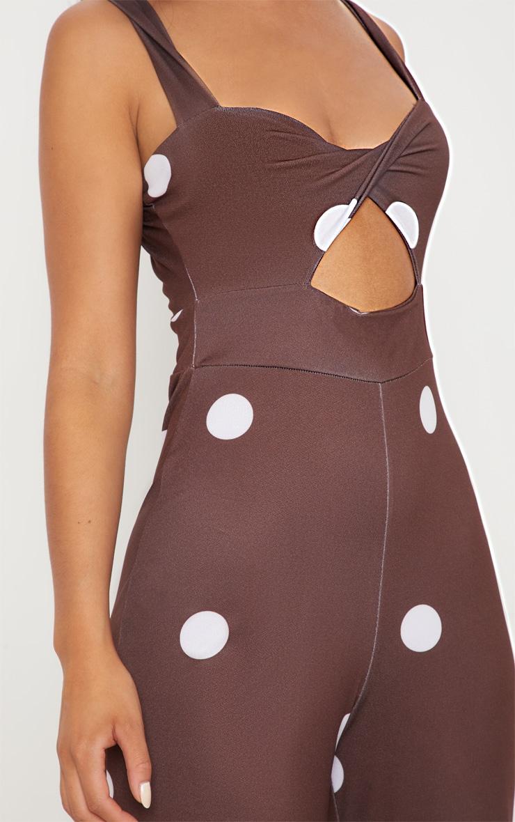 Chocolate Polka Dot Twist Front Jumpsuit 4