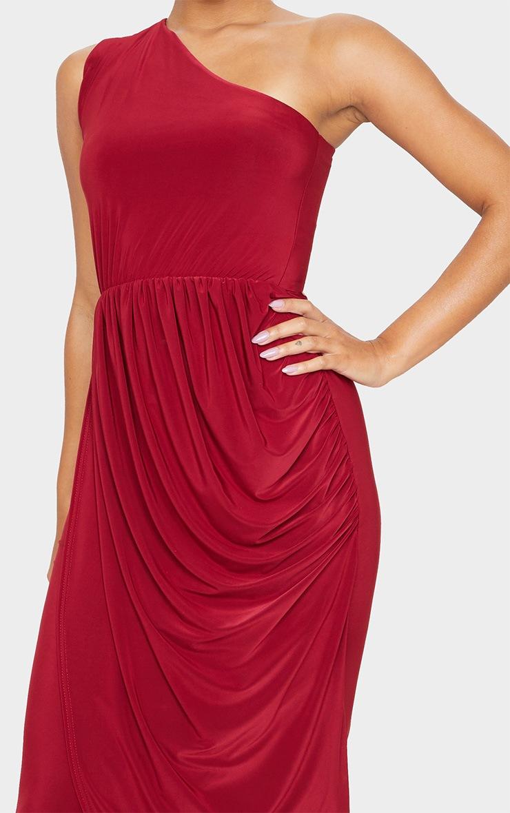 Burgundy Slinky Drape Detail One Shoulder Maxi Dress 5