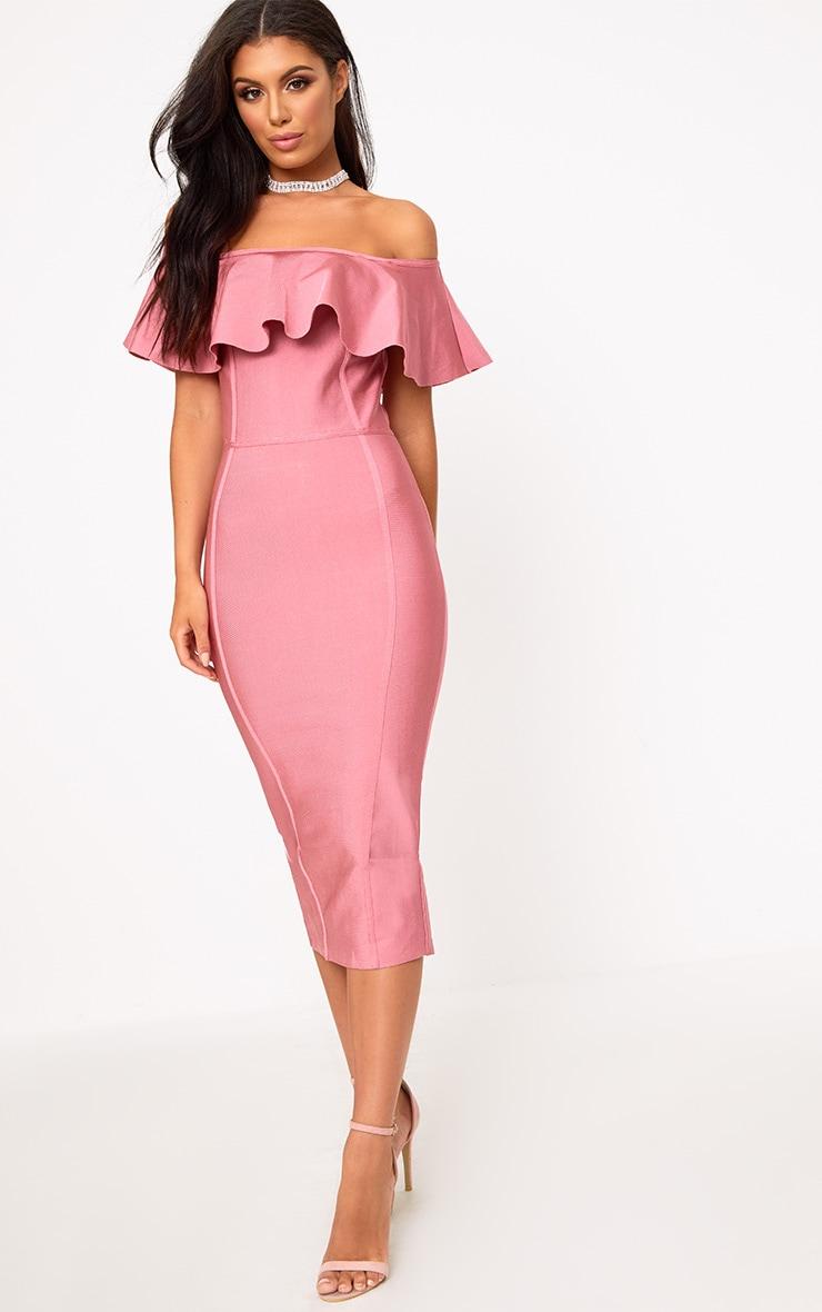 Rose Bandage Frill Bardot Midi Dress 3