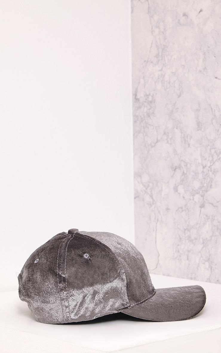 Venessa Light Grey Velvet Baseball Cap 4