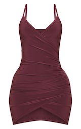 Shape Burgundy Ruched Side Strappy Bodycon Dress 1