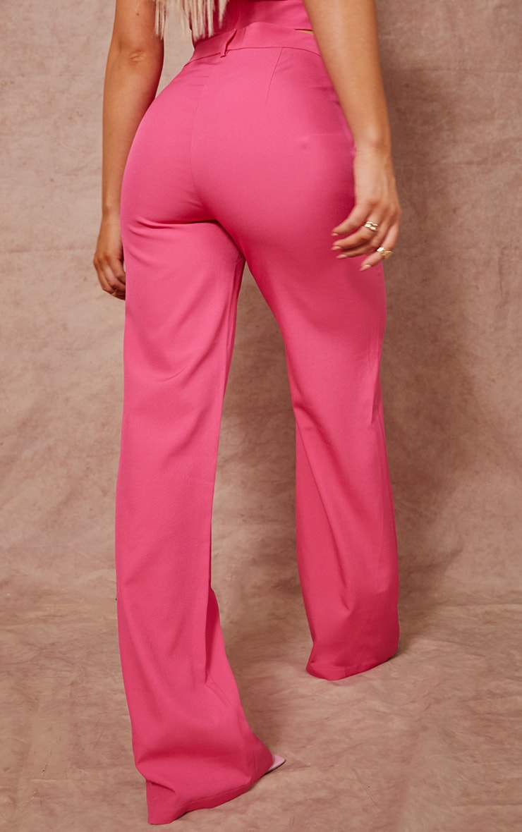 Hot Pink Woven Zip Front Straight Leg Trousers 3