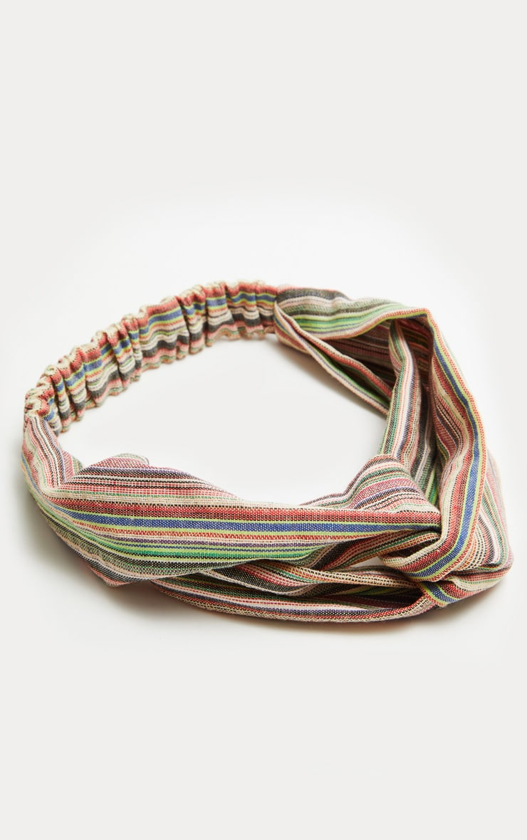 Green Stripe Twist Headband 2