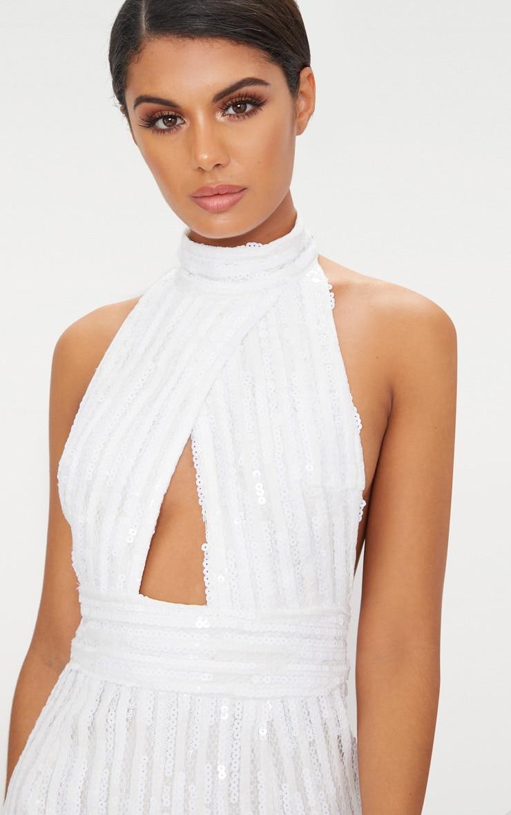 White Sequin Backless High Neck Cross Over Detail Bodycon Dress 5