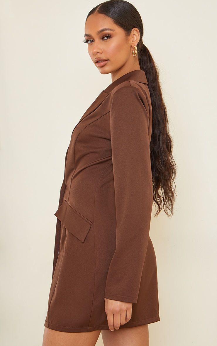 Chocolate Long Sleeve Pinched Waist Button Detail Blazer Dress 2