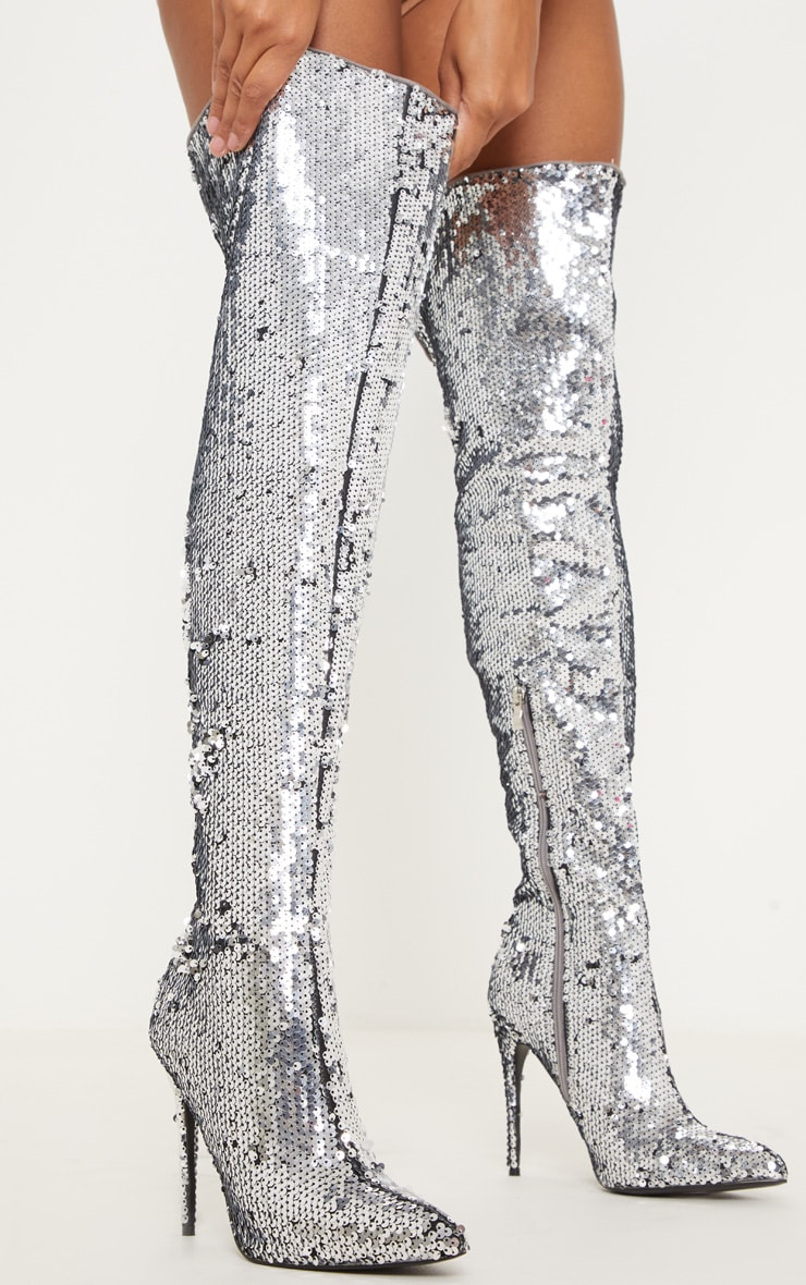 Silver Sequin Over The Knee Boots